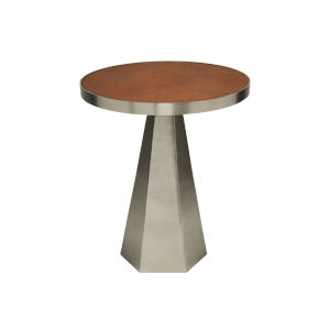 Antique Nickel and Faux Brown Side Table with Leather Top
