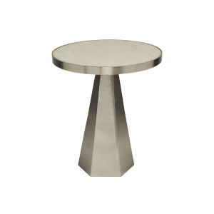 Antique Nickel and White Side Table with Marble Top