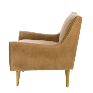 Camel Velvet and Polished Brass Lounge Chair