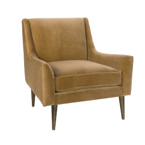 Camel Velvet and Bronze Lounge Chair