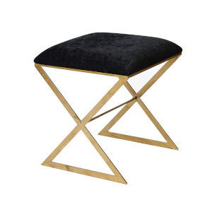 Gold and Black Velvet Stool