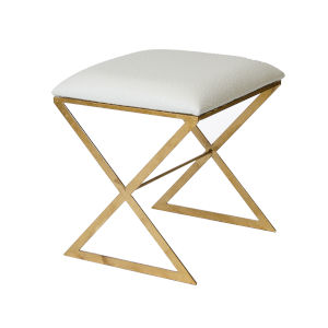 Cream Faux Ostrich and Gold Leaf Stool