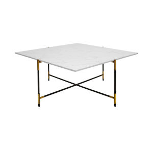 White Carrara Marble, Black and Antique Brass Square Coffee Table
