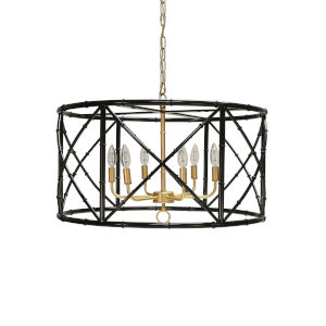 Black Powder Coat and Gold Six-Light Chandelier
