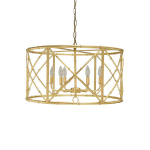 Gold Leaf Six-Light 27-Inch Chandelier