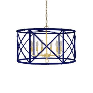 Navy Powder Coat and Gold Six-Light Chandelier