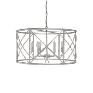 Silver Leaf Six-Light 27-Inch Chandelier