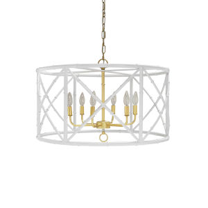 White Powder Coat and Gold Six-Light Chandelier