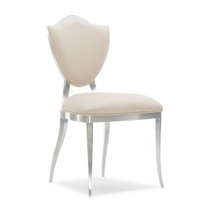 Caracole Classic Lightly Brushed Chrome and Beige Shield Me Chair