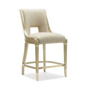 Caracole Classic Gold Bullion Paint and Beige In Good Taste Counter Stool
