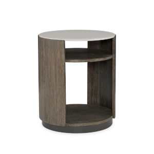 Modern Fusion Gray Fusion Drum End Table
