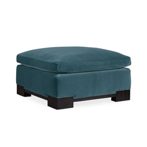 Black Stained Ash and Blue Ottoman