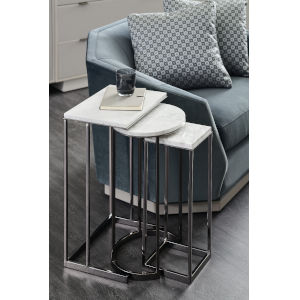 Modern Expressions Carrera Marble and Plated Nickel Nesting End Table