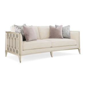 Caracole Classic Soft Silver Paint and Beige Just Duet Sofa
