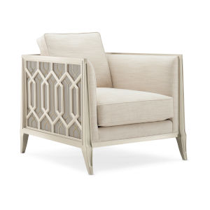 Caracole Classic Soft Silver Paint and Beige Just Duet Duet Chair