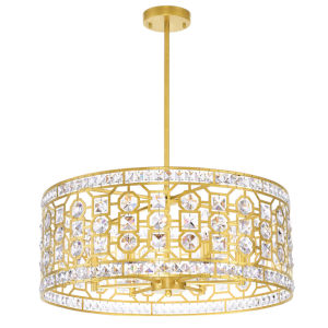 Belinda Champagne Six-Light Chandelier with K9 Clear Crystal
