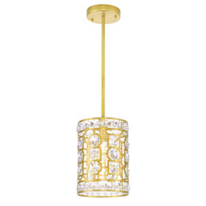 Belinda Champagne One-Light Mini Pendant with K9 Clear Crystal