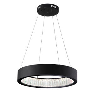 Rosalina Matte Black Integrated LED 20-Inch Chandelier with K9 Clear Crystal