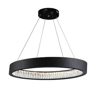 Rosalina Matte Black Integrated LED 32-Inch Chandelier with K9 Clear Crystal