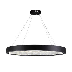 Rosalina Matte Black Integrated LED 42-Inch Chandelier with K9 Clear Crystal