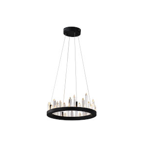 Juliette Black Integrated LED 16-Inch Chandelier with K9 Clear Crystal