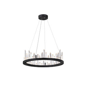Juliette Black Integrated LED 24-Inch Chandelier with K9 Clear Crystal