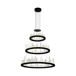 Juliette Black Integrated LED 32-Inch Round Chandelier with K9 Clear Crystal