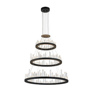 Juliette Black Integrated LED 42-Inch Chandelier with K9 Clear Crystal