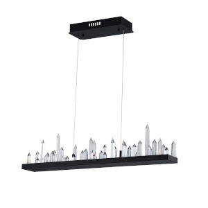 Juliette Black Integrated LED 45-Inch Chandelier with K9 Clear Crystal