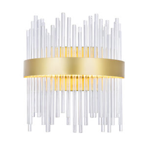 Genevieve Medallion Gold 12-Inch LED Wall Sconce with K9 Clear Crystals