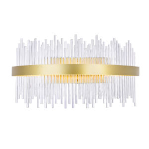 Genevieve Medallion Gold 24-Inch LED Wall Sconce with K9 Clear Crystals