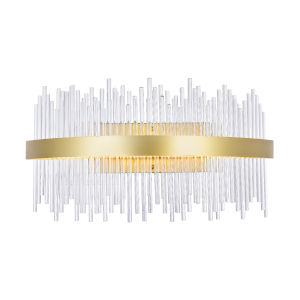 Genevieve Medallion Gold 32-Inch LED Wall Sconce with K9 Clear Crystals