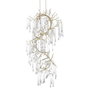 Anita Gold Leaf 12-Light 18-Inch Chandelier with K9 Clear Crystal