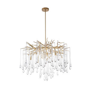 Anita Gold Leaf Six-Light Chandelier with K9 Clear Crystal