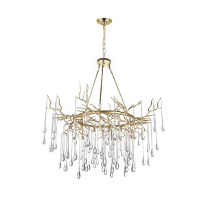 Anita Gold Leaf 12-Light 43-Inch Chandelier with K9 Clear Crystal