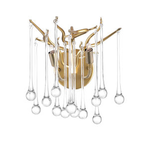 Anita Gold Leaf Two-Light Wall Sconce with K9 Clear Crystal