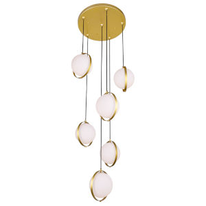 Da Vinci Brass Six-Light LED Pendant