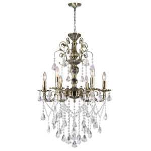 Antique Brass Six-Light 33-Inch Chandelier with K9 Clear Crystal