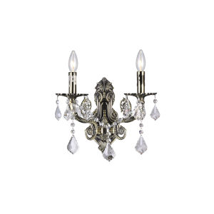 Black Two-Light Wall Sconce with K9 Clear Crystal