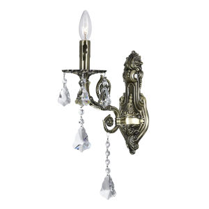 Antique Brass One-Light 9-Inch Wall Sconce with K9 Clear Crystal