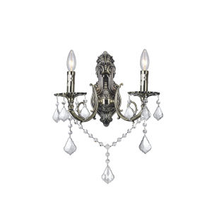 Antique Brass Two-Light Wall Sconce with K9 Clear Crystal