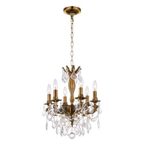 French Gold Six-Light Chandelier with K9 Clear Crystal