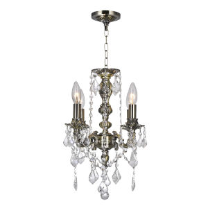 Antique Brass Four-Light 14-Inch Chandelier with K9 Clear Crystal