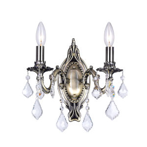 Antique Brass Two-Light 15-Inch Wall Sconce with K9 Clear Crystal