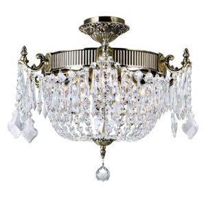 Antique Brass Six-Light Flush Mount with K9 Clear Crystal