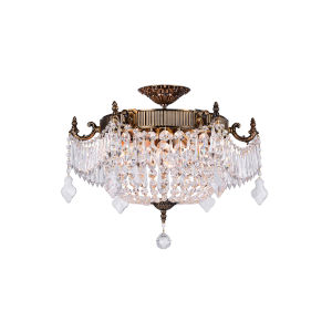 French Gold Six-Light Flush Mount with K9 Clear Crystal