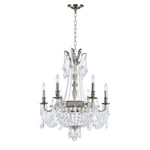 Antique Brass Nine-Light Chandelier with K9 Clear Crystal