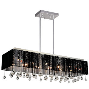 Water Drop Chrome 17-Light Chandelier with K9 Smoke Crystal