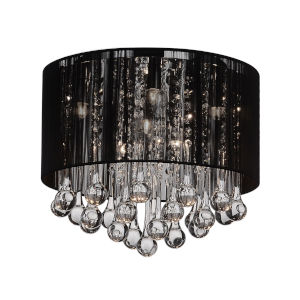 Water Drop Chrome and Black Six-Light 13-Inch Flush Mount with K9 Clear Crystal