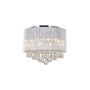 Water Drop Chrome and Silver Six-Light 13-Inch Flush Mount with K9 Clear Crystal